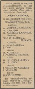 Lukas Aardema, 5-1-1937, overlijdensadvertentie