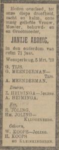 Jantje Abbing, 5-3-1923, overlijdensadvertentie