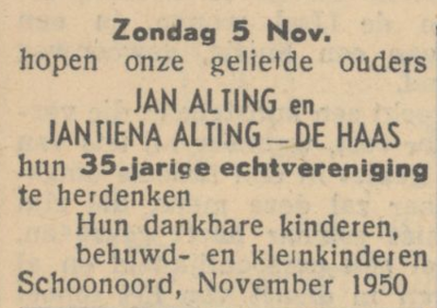 Alting en de Haas, 5-11-1950, 35 jarig huwelijk