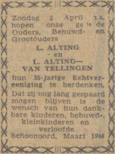 Alting en van Tellingen, 2-4-1944, 35 jarig huwelijk