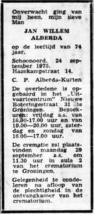 Jan Willem Alberda, 24-9-1975, overlijdensadvertentie