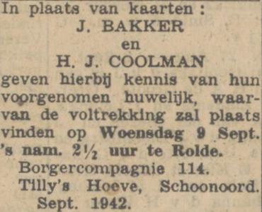 Bakker en Coolman, 9-9-1942, huwelijksadvertentie