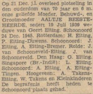 Aaltje Beesteheerde, 21-12-1945, overlijdensadvertentie