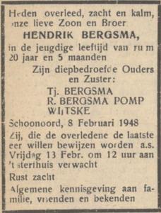Hendrik Bergsma, 8-2-1948, overlijdensadvertentie