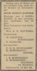 Jetje Berends Bijkerk, 13-5-1929, overlijdensadvertentie