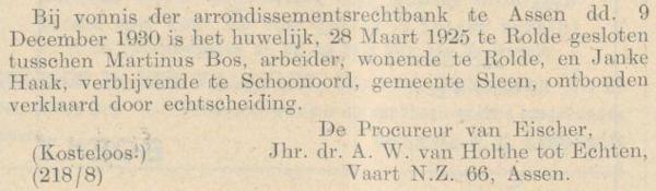 Bos en Haak, 9-12-1930, echtscheiding