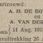de Boer  en van der Sluis, 11-8-1915, ondertrouwd