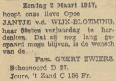 Jantje Bloeming, 2-3-1947, 80 jaar.
