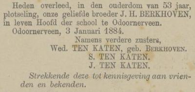 Jan Hendrik Berkhoven. 3-1-1884, overlijdensadvertentie