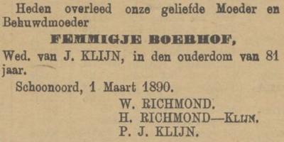 Femmigje Boerhof, 1-3-1890 overlijdensadvertentie