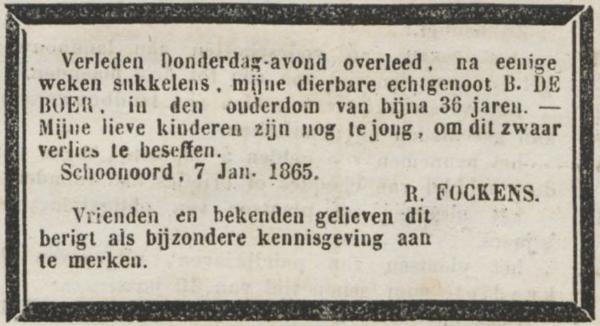 Bregtje de Boer, 7-1-1865 overlijdensadvertentie