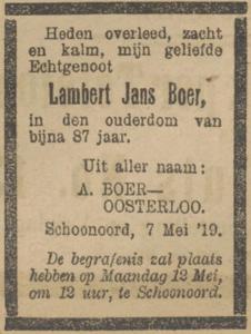 Lambert Jans Boer, 7-5-1919, overlijdensadvertentie