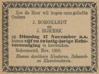 Borghardt en Bijkerk, 17-11-1903, 25 jarig huwelijk