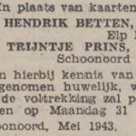 Betten en Prins, 5-1943, ondertrouwd