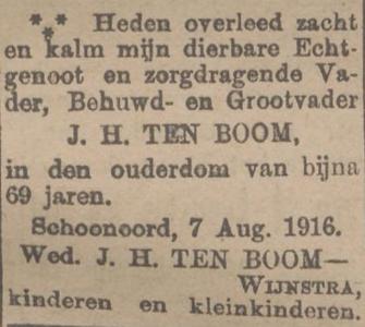 Jan Hendriks ten Boom, 7-8-1916, overlijdensadvertentie