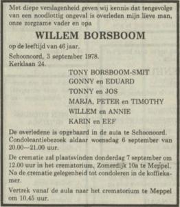 Willem Borsboom, 3-9-1978, overlijdensadvertentie