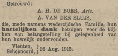 de Boer en van der Sluis, 26-8-1915, huwelijksadvertentie