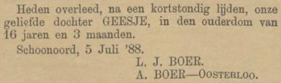 Geesje Boer, 5-7-1888 overlijdensadvertentie