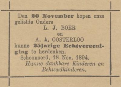 Boer en Oosterloo, 18-11-1894 25 jarig huwelijksadvertentie