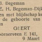 Geert Begeman, 9-3-1945, geboorteadvertentie