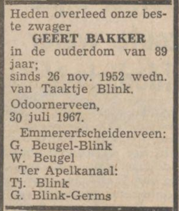 Geert Bakker, 30-7-1967, overlijdensadvertentie