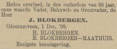 Jacobus Blokbergen, 1-12-1899, overlijdensadvertentie