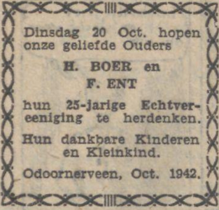 Boer en Ent, 20-10-1942, 25 jarig huwelijk