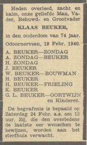 Klaas Beuker, 19-2-1940, overlijdensadvertentie