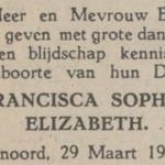 Francisca Sophia Elizabeth Bol, 29-3-1948, geboorteadvertentie