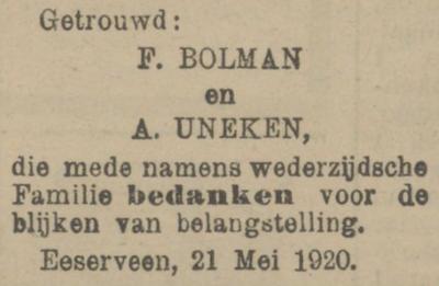 Bolman en Uneken, 21-5-1920, huwelijksadvertentie