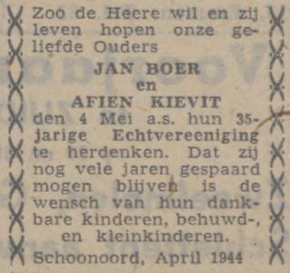 Boer en Kievit, 4-5-1944, 35 jarig huwelijk