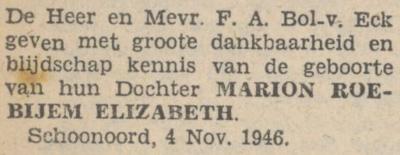 Marion Roebijem Elizatbeth Bol, 4-11-1946, geboorteadvertentie