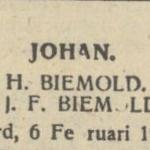 Johan Biemold, 6-2-1947, geboorteadvertentie
