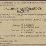 Jacobus Goedhardus Bazuin, 8-5-1982, overlijdensadvertentie