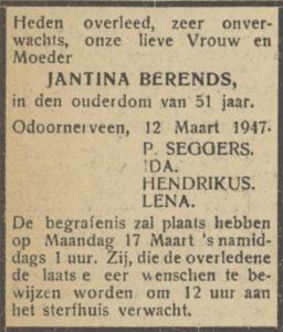 Jantina Berends, 12-3-1947, overlijdensadvertentie
