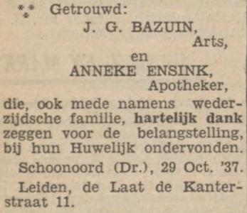 Bazuin en Ensink, 29-10-1937, huwelijksadvertentie