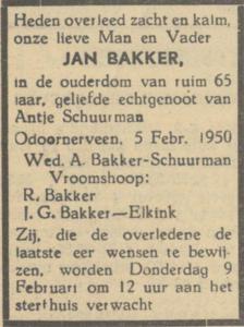 Jan Bakker, 5-2-1950, overlijdensadvertentie