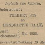 Bos en Haak, 5-1923, ondertrouwadvertentie