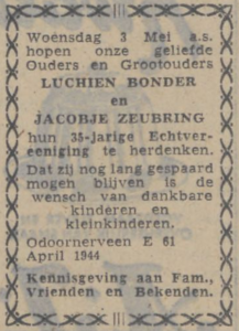 Bonder en Zeubring, 3-5-1944, 35 jarig huwelijk