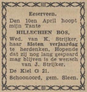 Hillechien Bos, 10-4-1943, 85 jarig jubileum