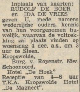 de Boer en de Vries, 4-12-1957, huwelijksaankondiging