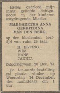 Margaretha Anna Gerritdina van den Berg, 20-12-1941, overlijdensadvertentie