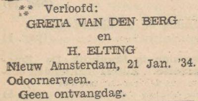 van den Berg en Elting, 21-1-1934, verloofd