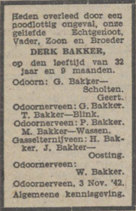 Derk Bakker, 3-11-1942, overlijdensadvertentie