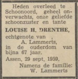 Louiza Henrietta Drenthe, 29-9-1959, overlijdensadvertentie