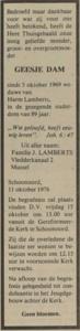 Geesje Dam, 11-10-1976, overlijdensadvertentie