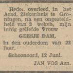 Geesje Dam, 12-6-1930, overlijdensadvertentie