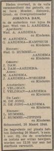 Johanna Dam, 16-3-1948, overlijdensadvertentie