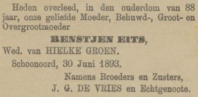 Renstjen Eits,, 30-6-1893 overlijdensadvertentie