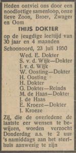 Thijs Dokter, 23-7-1950, overlijdensadvertentie